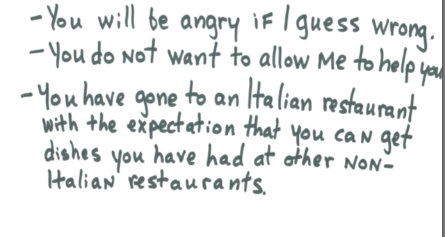 A waiter's letter to an angry customer