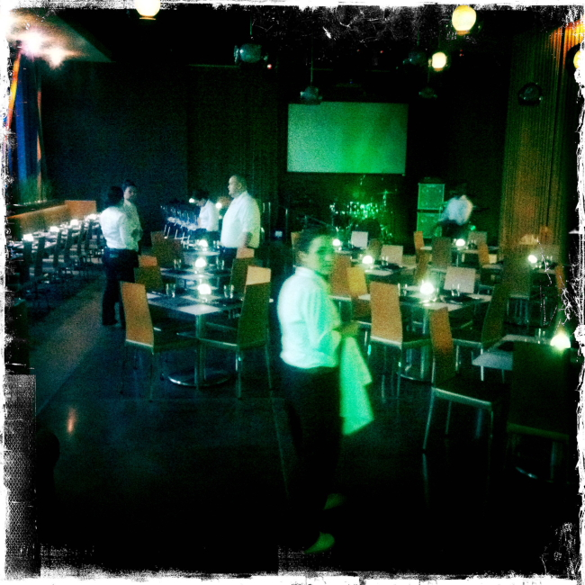 waiters setting up dining room