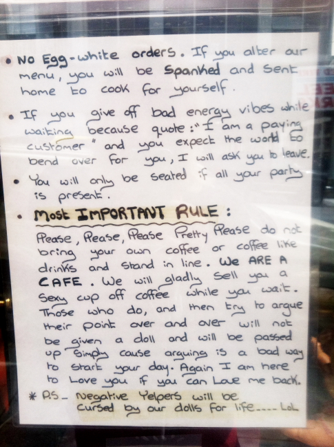 Red Door Cafe San Francisco service rules