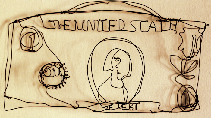 The United States of One, a Dollar Bill wire sculpture