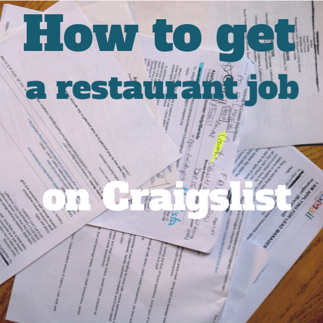 how to get a restaurant job